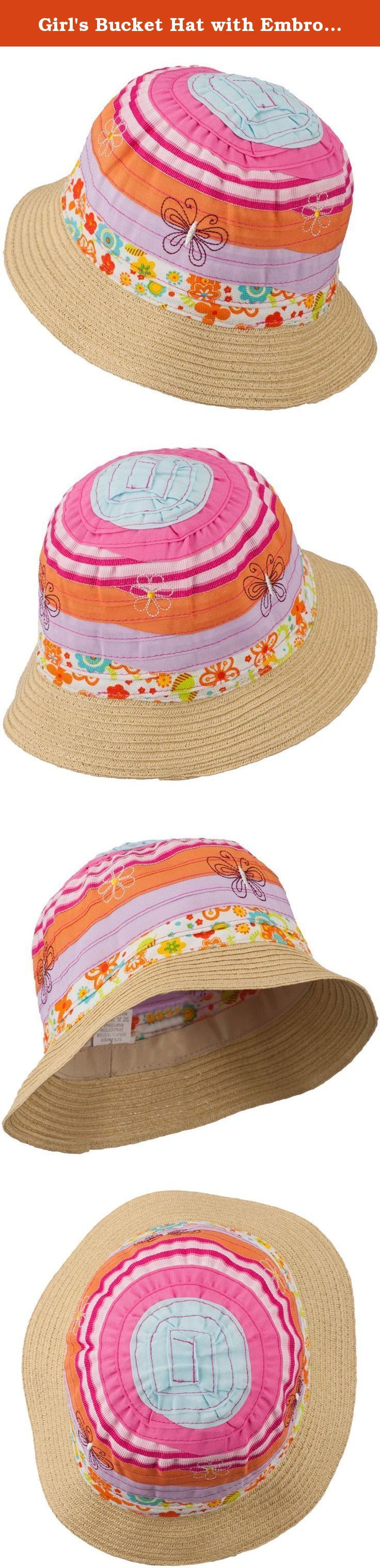 Girl's Bucket Hat with Embroidered Flowers and Butterflies - Orange Pink 52CM. For all those special spring and summer occasions, accessorize your little one with our new Orange Pink Girl's Bucket Hat with Embroidered Flowers and Butterflies. Made from paper straw material, this colorful hat is the perfect choice to go along with all your little girl's spring holiday dresses or even summer bathing suits. Featuring a flexible brim, this hat will put you at ease knowing your child will be…
