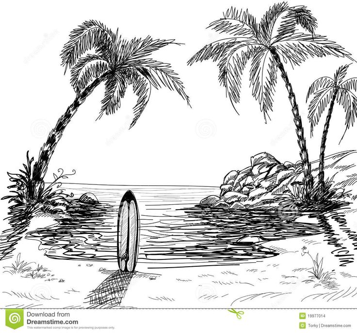 Landscape+Pencil+Sketches   Seascape drawing with palm trees and surfboard in the sand.