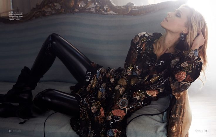 Valentina Zelyaeva wears embroidered gowns and dresses Pose on ELLE Russia Magazine December 2015 Photoshoot