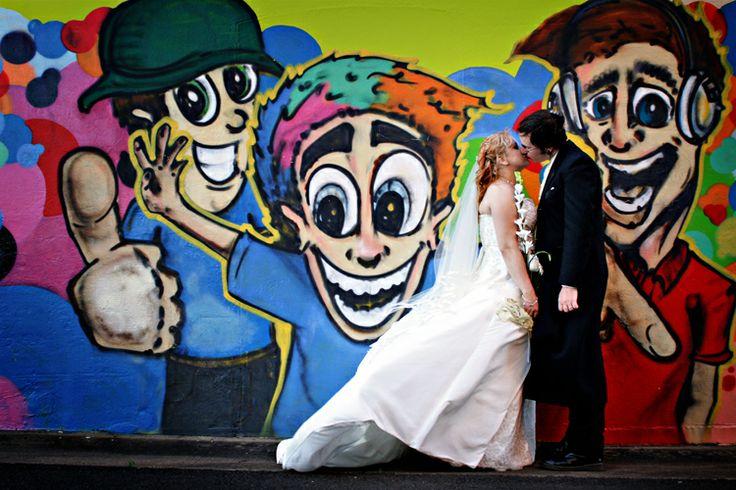 Bride & Groom + graffiti