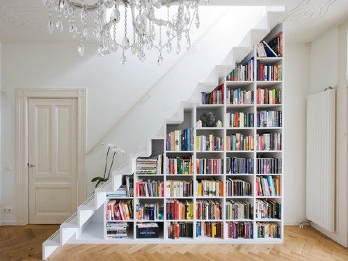 bookcase - instead go halfway down then have a bench underneath. Love this idea!
