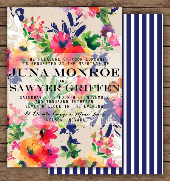 Floral Wedding Invitation by OliveJuiceStationery on Etsy, $35.00