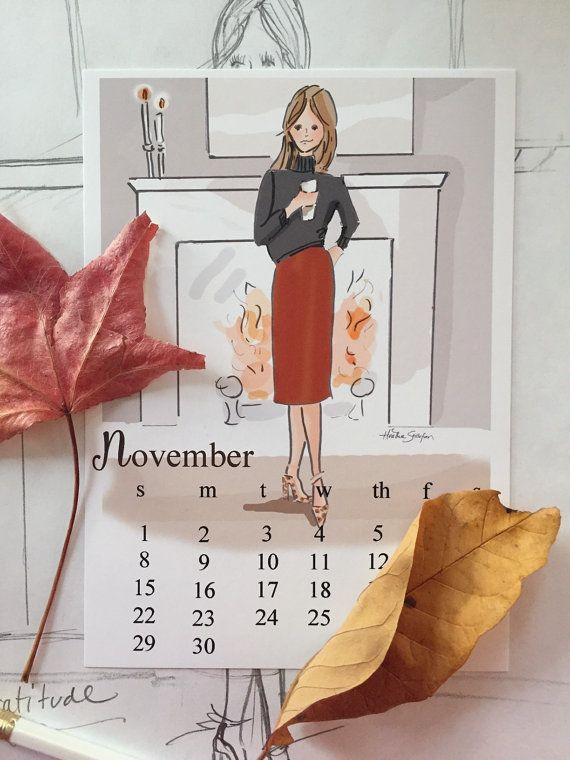 November Finds Digital Desk Calendar Art  by RoseHillDesignStudio