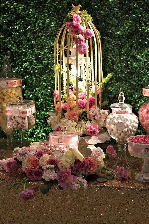 Garden theme candy buffet, boxwood backdrop, butterflies. Floral by Stephanie Do @ LaBelle Fleur Designs