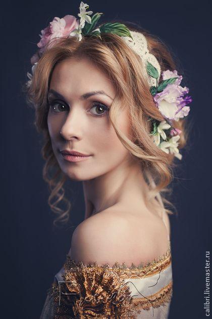 Цветочный аксессуар - венок на голову Тальони - авторская работа Лилия Марченко. Натуральный шелк, ручное окрашивание.