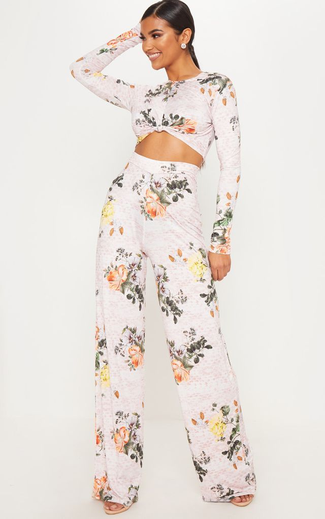 Pink Slinky Floral Print Palazzo Trousers Two Piece Outfit Outfits Piece Dress