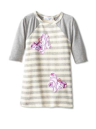 69% OFF Tilly & Jax Raglan Sweater Dress with Butterflies (Cream/Heather Grey Stripe)