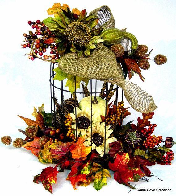 Fall birdcage floral arrangement centerpiece thanksgiving Fall floral arrangements