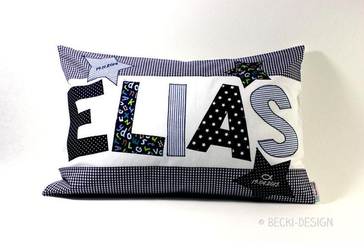 Namenskissen - Kissen mit Namen und Rahmen - Druckschrift - ein Designerstück von Becki-Design bei DaWanda