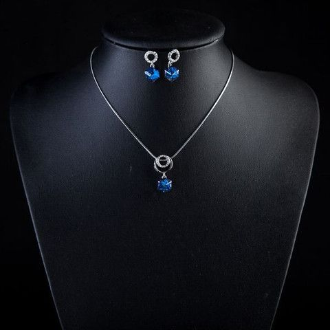 Platinum Plated Bule Stellux Austrian Crystal Cube Drop Earrings and N | Stylish Beth