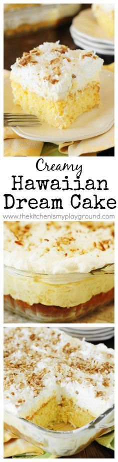 Hawaiian Dream Cake ~ a layered delight with pineapple-and-coconut laced yellow cake base, layer of creamy pineapple pudding, and freshly whipped cream and coconut topping. Cool, creamy, & comforting! #ad www.thekitchenismyplayground.com