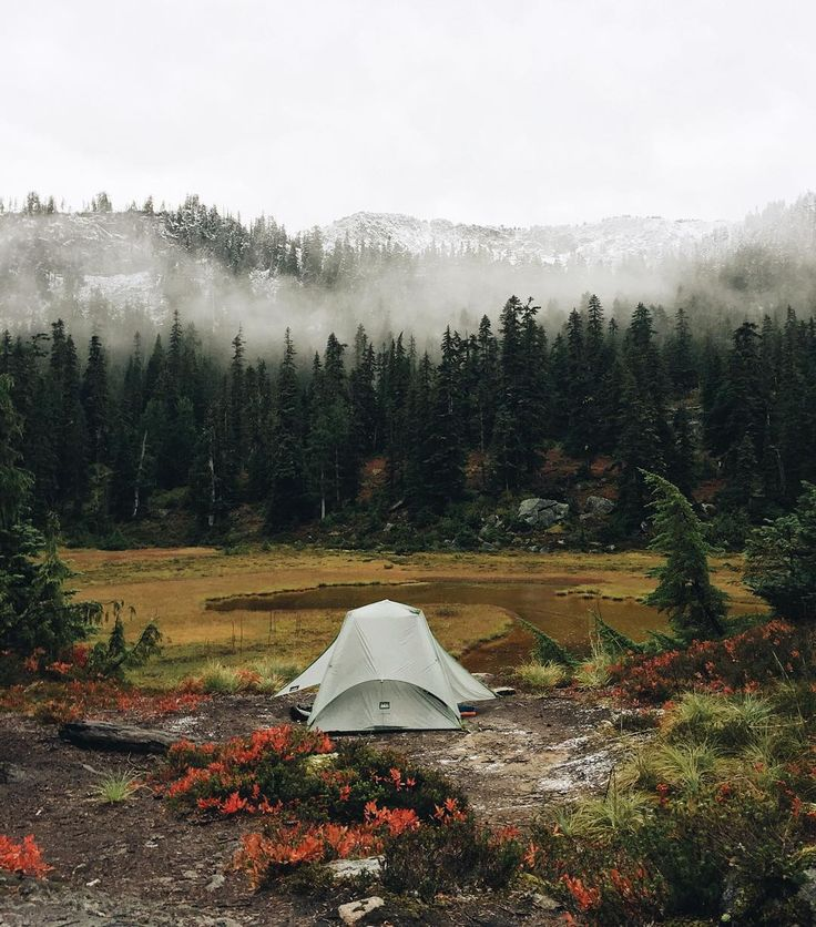 """""""Went to sleep on a dry summer night, woke up to a wet and cold fall morning ❄️ Alpine Lakes Wilderness"""""""