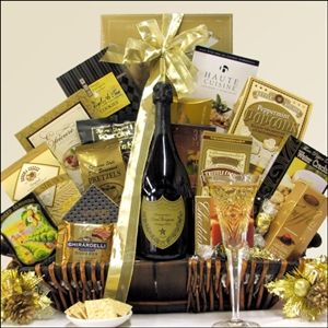 Gourmet Sophisticate Champagne Gift Basket with 6 Champagne Choices available from Arttowngift.com.