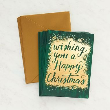 Send these lovely cards to friends and family to wish them a Happy Christmas!  Blank inside. Designed and printed in Chicago.<br><br> 10 - A6 folded cards <br> 10 - antique gold envelopes