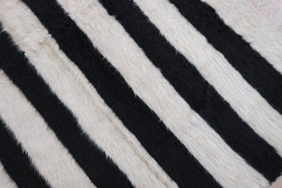 Organic wool Handwoven Keim rug-stripe rug-black and by kilimci