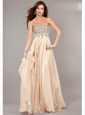 Champagne Sweetheart Beading Chiffon 2013 Prom Dresses