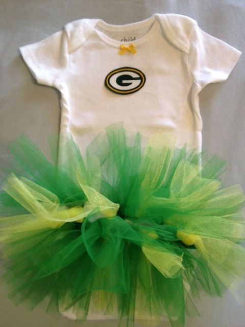 OMG OMG OMG!!! If I ever have a daughter she will have this!!!  NFL Green Bay Packers Tutu Dress for Baby Girls. $19.45, via Etsy.