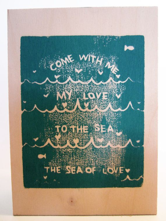 sea of love // hand stamped wood panel art by foreignspell, #songlyrics #quote #lyrics