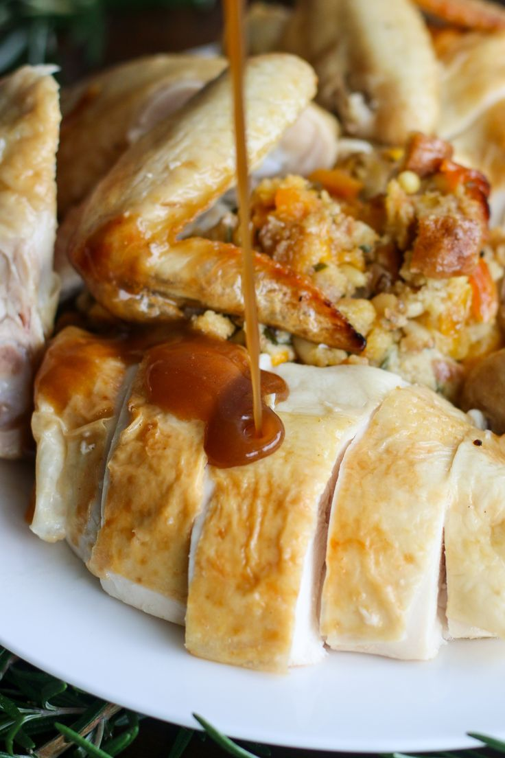 Easy Roast Chicken with Apricot and Pinenut Stuffing.