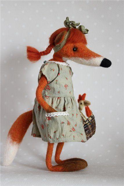 Шерсть и войлок по-белорусски - Лиска Алиска, лиса-тедди,валяная из шерсти
