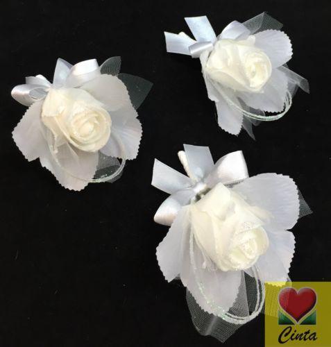 3-X-White-foam-rose-buttonholes-wedding-silk-flower-cintahomedeco
