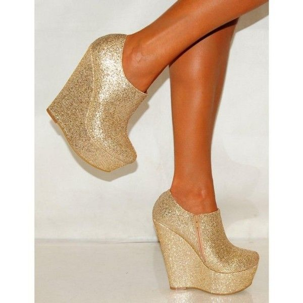 Ladies Gold Shimmer Glitter Sparkly Ankle Boots Wedges High Heels (64 BRL) ❤ liked on Polyvore featuring shoes, boots, ankle booties, wedge heel ankle boots, wedge ankle boots, wedge heel booties, wedge booties and ankle boots