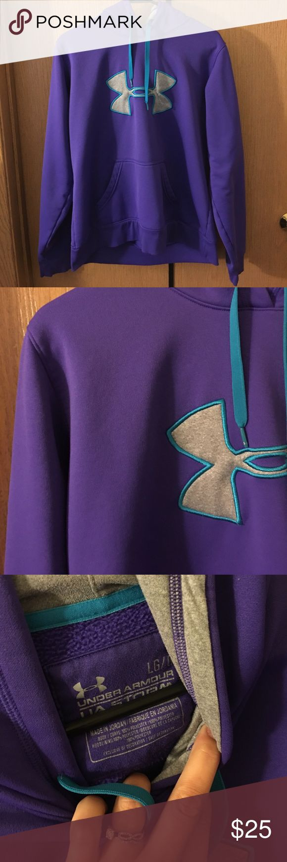 Purple Under Armour Hooded Sweat Shirt Purple Under Armour Sweat Shirt! Used but in good condition -- no flaws! I accept offers:) Under Armour Tops Sweatshirts & Hoodies