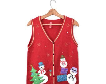 Vintage trui Vest Kerst Trui Vest Scotty Dog door founditinatlanta