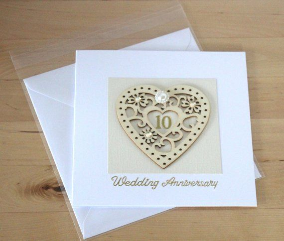 10th Wedding Anniversary Card Gift 10th Anniversary Tenth Etsy