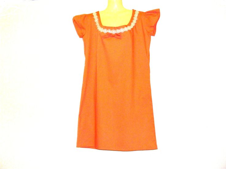 Orange Dress, Summer Dress, Womens Dress, Bright Dress, Size 10, Size 12, By Rebeccas Clothes by RebeccasClothes on Etsy