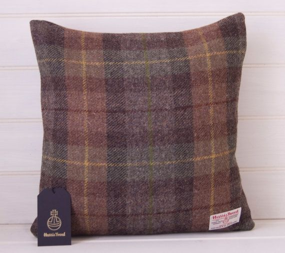 Brown Green Plaid Tartan Cushion Cover Genuine Scottish Harris Tweed Size 16ins Zipper opening at base of cover This listing is just for the cover