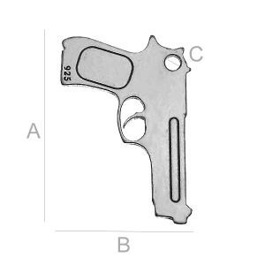 SILVER BERETTA CHARM LK-0123 (0,50 MM) SIZE:A=20,00 mm; B=13,40 mm; C=1,20 mm, sterling silver (AG-925)  Available options: AG 925 (18K- Rose Gold Plated) AG 925 (24K- Gold Plated) AG925 ( BRH- Black Rhodium Plated) AG 925 (RH- Rhodium Plated)