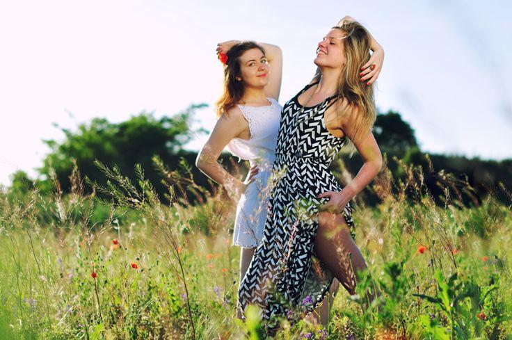 women among dandelion - field, summer, young