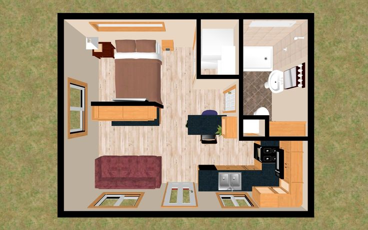 """This is actually the LARGER version of one of our 242 sq ft tiny homes. The """"Buckaroo XXL"""" has a little extra room to move around and all the Cozy home essentials."""