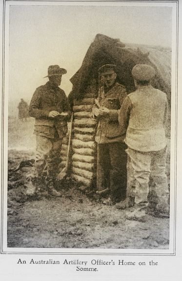 """WWI. """"An Australian Artillery Officer's Home on the Somme."""" 'From the Australian Front', published 1917. - archive.org"""