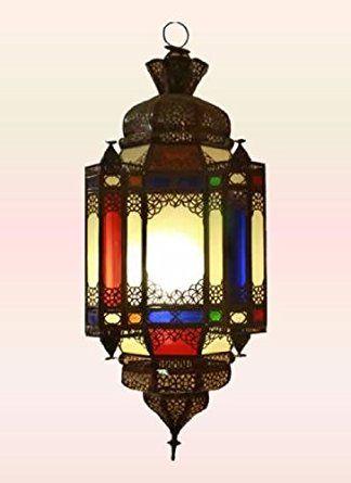 Lámpara de techo de latón antiguo marroquí Madre de 4 hijos Vidrio multicolor -55x 22cm.