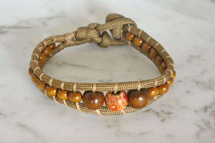 Brown Paracord Bracelet, Beaded Paracord Bracelet, Unisex Bracelet, Tough Bracelet, Paracord Wristband by LeatherTrove on Etsy