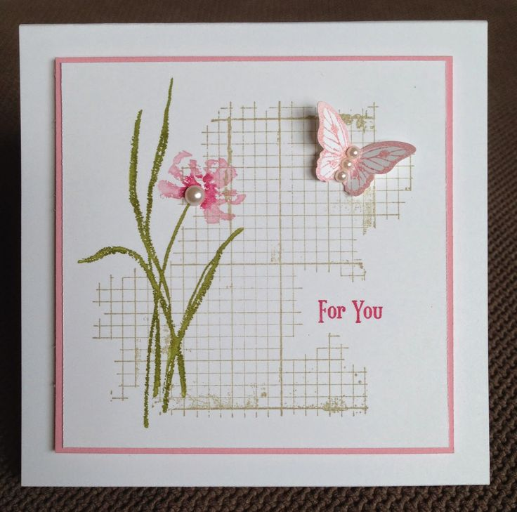 pretty stemmed flower and single butterfly on graph bkgrd.