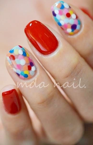 Colorful dots - confetti mani - nail art - nails - dotticure