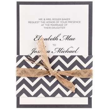 Gray & Cream Chevron Wedding Invitations - Hobby Lobby