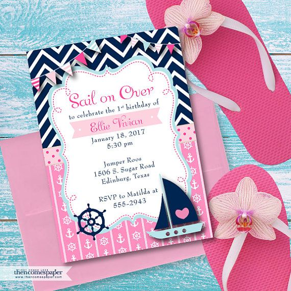 Printable Nautical First Birthday Invitations, Navy Blue and Pink Nautical 1st Girl's Birthday Invite, Anchor, Sailboat, Digital File #2014