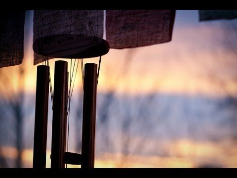 Wind Chimes with babbling brook, nature sounds, gentle, natural music for sleep, insomnia, relaxing