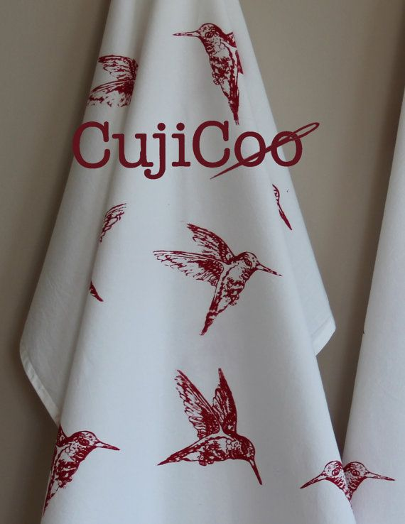 RED HUMMINGBIRDS Flour Sack Tea Towel Screen Printed Organic Cotton Kitchen  Towel For Dishes Lint Free Bar Towel