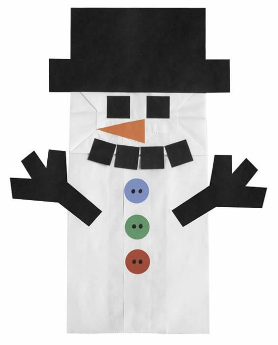 Snowman made from a paper bag, cute easy winter craft for kindergarten