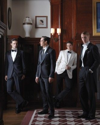 Dapper Dudes All gents cut a dashing figure in a tux, whether it boasts a classic peak lapel (far left), a Victorian-era shawl lapel (second from left), or tails (far right). Even more daring? A white dinner jacket.