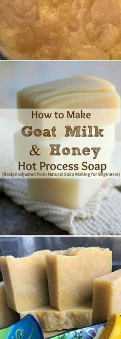 I've always wanted to make Goats Milk & Honey Handmade Soap! Here is a recipe for natural Moisturizing Hot Process Goat Milk & Honey Soap, PLUS how I changed the directions from Cold Process Soap to the Hot Process soap making Method. Make your own soap! This recipe is from this incredible book: Natural Soap Making for Beginners, by Kelly Cable. #soapmakingforbeginners
