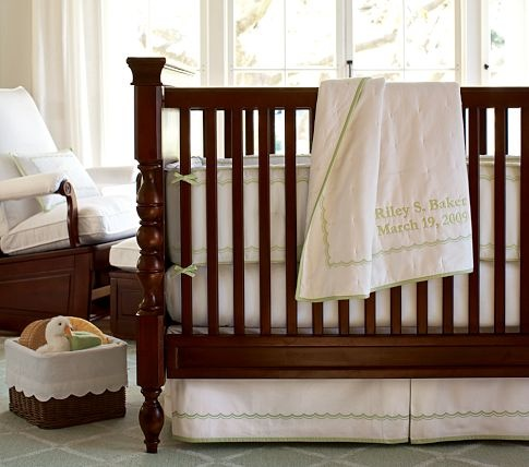 Scallop Pique Nursery Bedding | Pottery Barn Kids: Cribs Sheet, Baby Beds, Nurseries Beds, Baby Rooms, Nursery Bedding, Pottery Barns Kids, Families Nurseries, Scallops Pique, Beds Sets