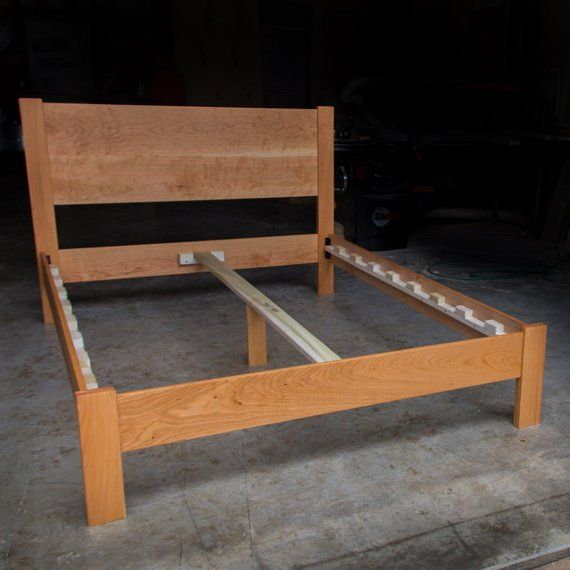 Cherry Simple Platform Bed Frame With Straight Headboard Custom