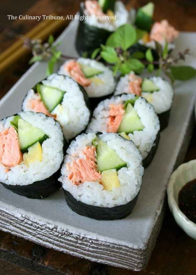 2. Salmon Sushi Rolls | 10 Sushi Recipes To Make At Home!