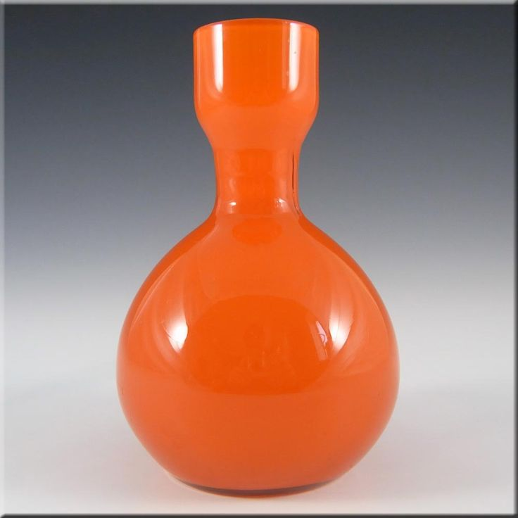 Elme 1970's Swedish/Scandinavian Orange Cased Glass Vase - £19.99